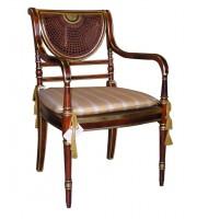 Πολυθρόνα με ψάθινη πλάτη και φύλλο χρυσού